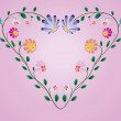 Heart frame from colotful flowers vector illustration on pink — Vector de stock #11612708