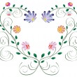Royalty-Free Stock Vector Image: Heart frame from curls and colorful flowers isolated on white