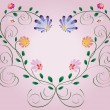 Vector de stock : Heart frame from curls and colorful flowers isolated on pink