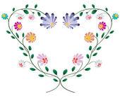Cornice cuore da colotful fiori vettoriale illustrazione isolato o — Vettoriale Stock