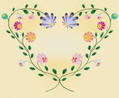 Heart frame from colotful flowers vector illustration on pastel — Stock Vector