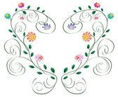 Bukleler ve çiçekler, yapraklar üzerinde beyaz izole kalp çerçeve — Stok Vektör