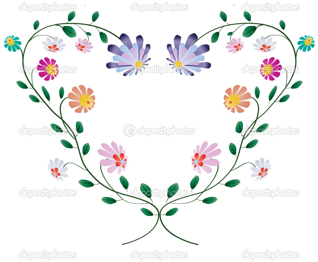 Heart frame from colotful flowers vector illustration isolated on white background — Stock Vector #11612716