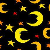 Bezešvé měsíc a hvězdy na noční Černá obloha ilustrace — Stock vektor