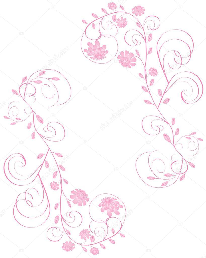 Cornice fiori rosa bella elegante isolato su sfondo bianco for De piccoli design srl