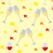 Vector de stock : Happy holiday with glasses and stars seamless illustration on ye