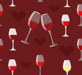 Glas wein und herz nahtlose illustration, auf liebe dunkel rot b — Stockvektor