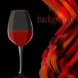 Wine glass on abctract bright lines background. Vector illustrat - Stock Vector