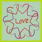 Illustration de coeurs colorés valentine sur fond abstrait — Vecteur