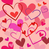 Pembe bir arka plan üzerinde sorunsuz illüstrasyon parlak kırmızı kalpler — Stok Vektör