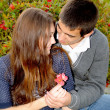 The young guy gives to the girl a small flower — Stock Photo #10771697