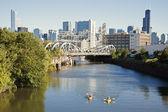 Kayaking on Chicago River — Stock Photo