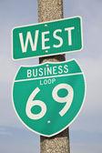 69 znak autostrady — Zdjęcie stockowe