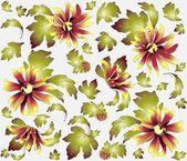 Fond transparent d'un ornement de fleurs, de la mode moderne papier peint ou de textile.chrysanthemum. — Vecteur