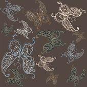Seamless background. Illustration butterflies. — Stock Vector