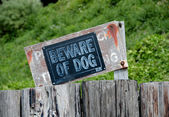 Unfriendly plate near a Camano island property — Stock Photo