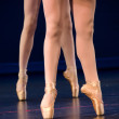 Legs of duo of ballerinas on pointe — Stock Photo