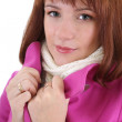 Cute woman in pink coat — Stock Photo