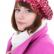 Stock Photo: Cute woman in pink coat isolated over white background
