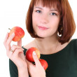 Stock Photo: Cute woman with apples isolated over white