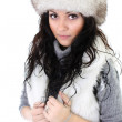 Attractive woman in fur hat — Stock Photo