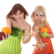Two sexy women with fruits — Stock Photo