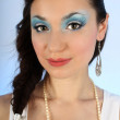 Portrait of beautiful woman with blue make-up — Stok fotoğraf #11791130