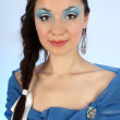Stok fotoğraf: Snow queen over blue background