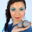 Portrait of beautiful woman with christmas tree balls — Foto de Stock