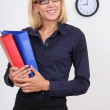 Businesswoman with folders — Stock Photo