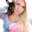 Young woman with toy-terrier on her shoulder over white — Stock Photo