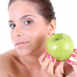 Healthy woman with green apple — Stock Photo