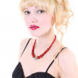 Girl with red lips — Stock Photo
