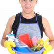 Man with cleaning supplies — Stock Photo