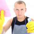 Young man cleaning — Stock Photo