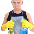 Stock Photo: Serious mwith cleaning spray