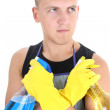 Man ready for doing housework — Stock Photo