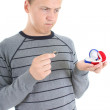 Man choosing between red and blue box for the ring — Stock Photo