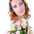 Red-haired woman with flowers and butterflies on her head — Foto Stock