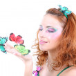 Stock Photo: Red-haired woman with butterflies