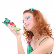 Red-haired woman with butterflies — Stock Photo