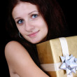 Portrait of girl with gift — Stock Photo