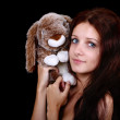 Portrait of girl with toy — Stock Photo #11793053