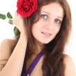 Portrait of girl with red flower — Stock Photo #11793056