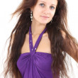 Woman in violet dress — Stockfoto