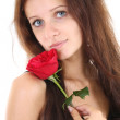 Portrait of girl with red rose — Stock Photo
