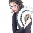 Attractive woman with fan — Stock Photo