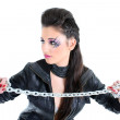 Young beautiful girl with chain — Stock Photo