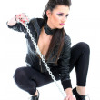 Young beautiful girl with chain — Stock Photo #11793303