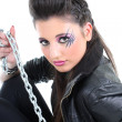 Portrait of young woman with chain — Stock Photo #11793376